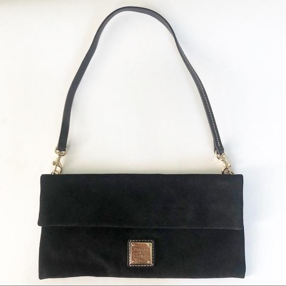Dooney & Bourke Handbags - Dooney & Bourke Black Suede Shoulder Clutch